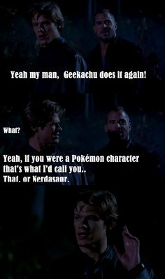 Geekachu. Or Nerdasaur. From MacGyver 2016. Gotta loooove this series!