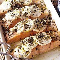 Recept - Zalmfilet met geitenkaas uit de oven - Allerhande Salmon with goat cheese from the oven.