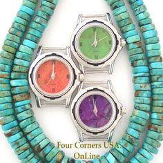 Womens Watch Faces Mohave Green Purple Turquoise Apple Coral to compliment your Native American Silver Watches Four Corners USA OnLine Vintage Watches Women, Watches For Men, Four Corners Usa, Southwest Jewelry, Watch Faces, Native American Jewelry, Green And Purple, Turquoise Stone