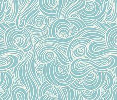 Sky and Sea, Soft Aqua fabric by sparrowsong on Spoonflower - custom fabric