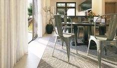 brushed metal dining chairs