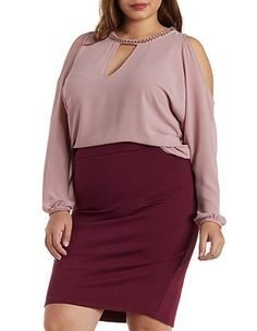 Plus Size Chain Neck Cold Shoulder Top: Charlotte Russe  I have a blush colored blouse, just need a burgundy skirt.