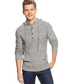 Calvin Klein Sweater, Macy's Exclusive Parallel Knit Hooded Sweater