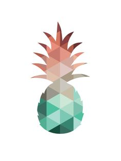 Pineapple Print Mint and Coral Pineapple Art by MelindaWoodDesigns