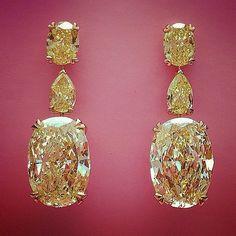 Beautiful yellow #diamond earrings on display at David Morris
