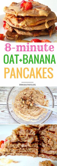 Easy Banana Oatmeal Pancakes - super tasty & healthy pancake recipe! These are really good and easy to make! You need one bowl to mix and one pan to cook. I added strawberry chunks to the batter (can't see them though) & walnuts (so good!). Super deliciou
