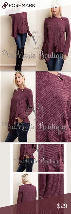 Burgundy asymmetrical ruffle knit top Purchased brand new from stylebymarie on Poshmark or ValMarie boutique.  These are her photos and she has an awesome closet! Huge variety and great bundle sales so please check her out!   Deep rich burgundy knit top with ribbed texture.  Long sleeves. Ruffle asymmetrical front detail with keyhole and button neckline. Polyester/nylon/spandex blend. I am a 36d, size 6-8 top and this fits.  I just haven't worn it because my closet is busting at the seams…