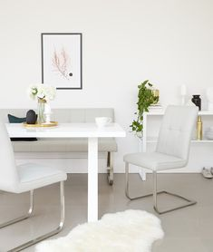 Traditional home with a modern edge? Look no further than the Finley dining Bench and Cantilever Chairs. The modern stainless steel base with chic quilting detail in the faux leather brings a modern touch to classic interiors. Faux Leather Dining Chairs, Leather Bench, Dining Set, Dining Bench, White Gloss Dining Table, Cantilever Chair, Bench Set, Classic Interior, Dining Furniture