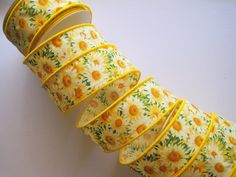Daisy Patch Cotton Wired Ribbon Yellow 1 3/8 by PrimroseLaceRibbon, $3.25