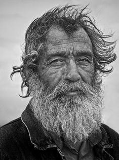 By Mehmet Akin. Old man, beard, wrinckles, lines of life, beauty, aged, powerful face, portrait, photo b/w.