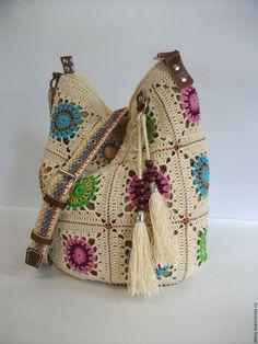 Ideas For Knitting Bag Crochet Granny Squares Crochet Tote, Crochet Handbags, Crochet Purses, Love Crochet, Crochet For Kids, Crochet Stitches, Knit Crochet, Knitting Patterns, Diy Bags