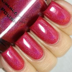 KBShimmer:  ⭐ Whole Lava Lovin' Nail Polish ⭐ ... This cherry red polish features a linear holographic look, flashing a rainbow like shine in the light. This polish covers in 2 coats, and adding a third deepens the color.  Type:Linear Holographic Glitter Load:Light Glitter Size:Micro