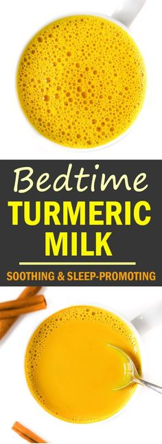Soothing Bedtime Golden Turmeric Milk! Amazing Ayurvedic benefits and actually helps promote better sleep - we LOVE it in the evenings for a better night's rest!! #vegan #goldenmilk #turmeric