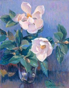 Ayhan Türker Magnolias, Painting, Flowers, Magnolia Trees, Painting Art, Paintings, Painted Canvas