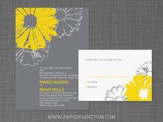 Modern Daisies Wedding Invitation Set by PapierSanctum on Etsy, $2.50