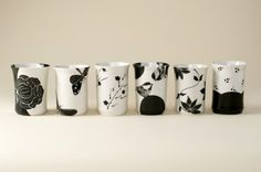For the black and white lover in your life. Hand Painted Mugs, Hand Painted Pottery, Ceramic Painting, China Painting, Pottery Painting, Ceramic Mugs, Ceramic Pottery, Pottery Making, Sgraffito