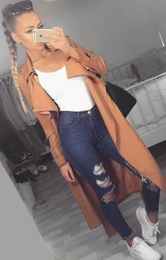 #summer #trendy #outfits | Trenchcoat + Bodysuit + Ripped Jeans