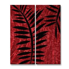 All My Walls PAL00176 Red Brush with Black Fern 3 Metal Wall Art  Red Brush with Black Fern 3 Metal Wall ArtBring invigoration to your home decor by adding
