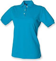 7c86476a Henbury Women's Classic Heavy Pique Short Sleeve Polo Shirt Turquoise 18