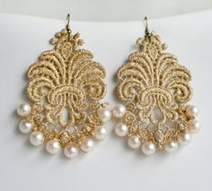 Gold Baroque Lace Pearl Earrings