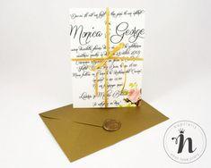 """Invitatii nunta cu sigiliu auriu si flori – """"DEMETRA"""" Love Story"""