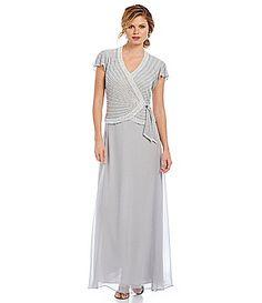 Jkara Flutter Sleeve Mock Two Piece Gown #Dillards