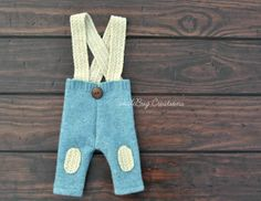 Newborn Photography Set  Upcycled Vintage Blue Suspenders with Amazing Texture Accents by ToodleBugCreations, $23.00