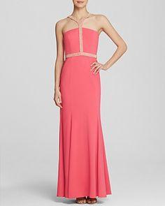 Boutique Gown - Embellished Neck Crepe | Bloomingdale's