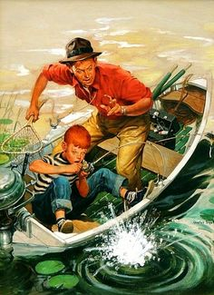 'Big Catch, Outdoor Life Magazine Cover' by Charles Dye : Original Oil… Norman Rockwell Art, Norman Rockwell Paintings, Beautiful Nature Wallpaper, Beautiful Paintings, Outdoor Life Magazine, Nostalgic Art, Strange Photos, Outdoor Paint, People Illustration