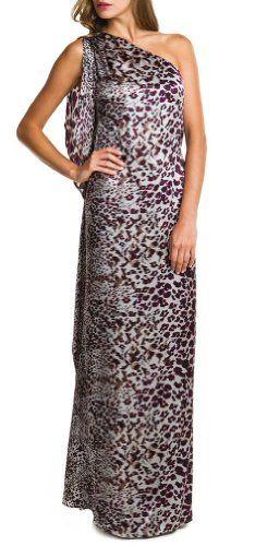 Badgley Mischka Luscious Animal Print One Shoulder Draped Eve Gown Dress (l)