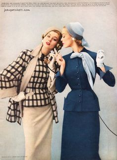 Suzy Parker and Jean Patchett for Swansdown, 1953. #vintage #fashion #50s
