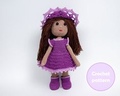 Crochet Small Doll with clothes pattern PDF, Crochet clothes for doll, Small doll with movable head CROCHET PATTERN - how to crochet the small doll and clothes for her: dress, underpants, boots and hat. The crochet pattern is made for beginner skills level, instant download pdf format. • PDF
