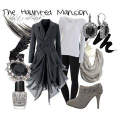 The Haunted Mansion. Black & Grey Long Sleeve Dress, White Long Sleeve Shirt, Black Leggings, Grey Scarf & Grey Ankle High Heel Boots. Halloween :) <3