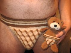 "matching knitted ""bollocks jock"" for him & his teddy"