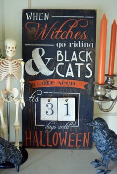 Distressed Wood Word Halloween Countdown Advent Sign Home Decor Decoration by ChippyPaintDesigns