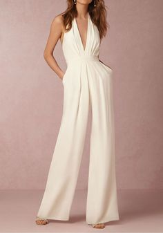 Elegant Deep V-Neck Sleeveless Summer Slim Sashes Pockets Jumpsuit Rompers Women Backless Zipper Wide Overalls Fashion Femme Wedding Jumpsuit, Backless Jumpsuit, Elegant Jumpsuit, Jumpsuit Shorts, White Jumpsuit Formal, Romper Suit, Wedding Rehearsal Dress, Formal Romper, Jumper Pants