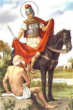 Happy Feast Day of St Martin of Tours – November 11 #pinterest One very cold winter day, Martin and his companions came upon a beggar at the gate of the city of Amiens. The man's only clothes were nothing but rags and he was shaking with cold. The other soldiers passed by him, but Martin felt that it was up to him to help ...............| Awestruck Catholic Social Network