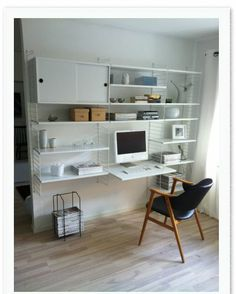 string system, home office, white Home Office, Office Nook, Studio Apartment Living, Home Living Room, Scandinavian Shelves, Casa Milano, String Shelf, Desk Inspiration, Compact Living