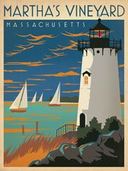 Martha's Vineyard: Lighthouse - After winning international acclaim for creating the Spirit of Nashville Collection, designer and illustrator Joel Anderson set out to create a series of classic travel posters that celebrates the history and charm of America's greatest cities. He directs a team of talented Nashville-based artists to help him keep the collection growing.