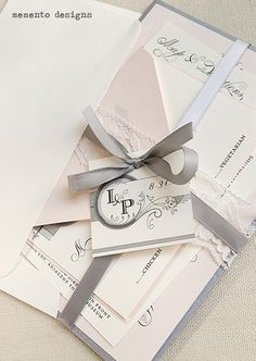 Wedding invites, pink and grey theme!