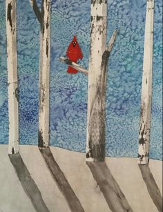 Winter craft project- Mixed-media Cardinal in the Snow: watercolor and salt for sky and ground, acrylic paint brushed with a comb for trees, red painted paper for cardinal, watercolor for shadows