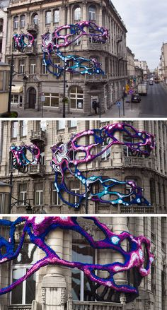 """Artist Crystal Wagner just unveiled her latest site-specific installation titled """"Hyperbolic"""" in Lodz, Poland, a piece that creates an unusual juxtaposition of an unwieldy organic growth against the backdrop of a 100-year-old art nouveau facade. Wagner is known for her large-scale mixe"""