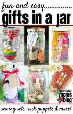 "Easy Gifts in a Jar - great for last-minute creative gifts! "" Jar Gifts Gifts in a Jar "" Easy Gifts, Creative Gifts, Homemade Gifts, Cute Gifts, Funny Gifts, Diy Christmas Gifts, Holiday Gifts, Santa Gifts, Mason Jar Gifts"