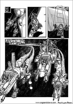 Cs&Cs wordless webcomic page 2000ad, Star Fox, Rocket Raccoon, Teddybear, Cogs, Spacecraft, Tmnt, Gundam, Starwars