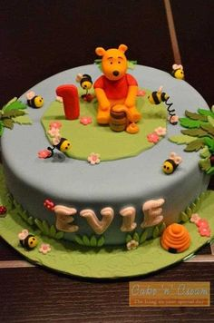 Winnie The Pooh Cake With Handmade Topper