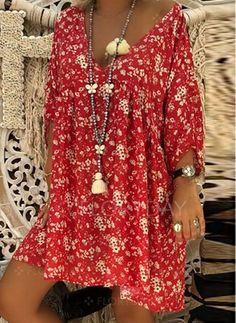 af19a0ab93 Dress -  39.99 - Plus Size Floral 3 4 Sleeves Above Knee Shift Dress (