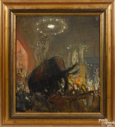 Attributed to Charles Constantine Hoffbauer (American 1875-1957), oil on board scene - Price Estimate: $800 - $1200