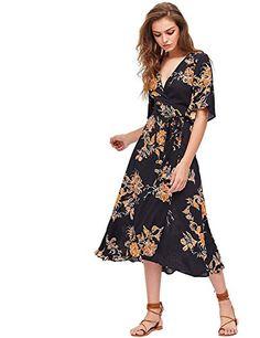 84db90b912 Milumia Women s Boho Deep V Neck Floral Chiffon Wrap Spli... https  .  Casual Wear ...