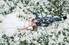 beautiful moment in a bed of rose petals