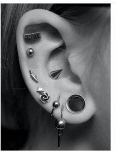 Imagine piercing, earrings, and ear